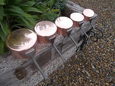 Lovely French Vintage 5 Lined Copper Pans Ref T11/120