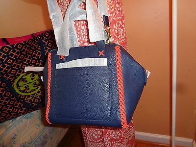 6ee3f666f907 NWT TORY BURCH WHIPSTITCH Leather Mini SATCHEL $495 DUSTBAG Navy ...