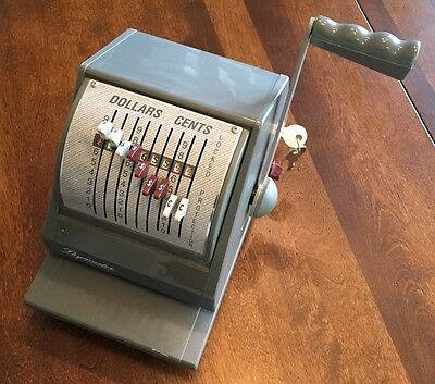 Paymaster 9000-9 ribbon cheque writer c/w key stamp register