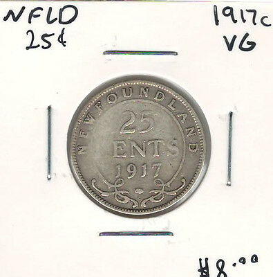 Canada Newfoundland NFLD 1917c 25 Cents VG Lot#2