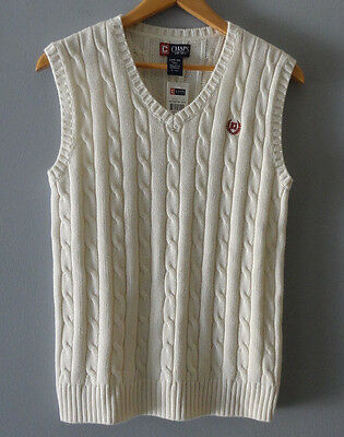 New! Chaps Kids Boys White Sweater Vest Size L Large 16-18 NWT