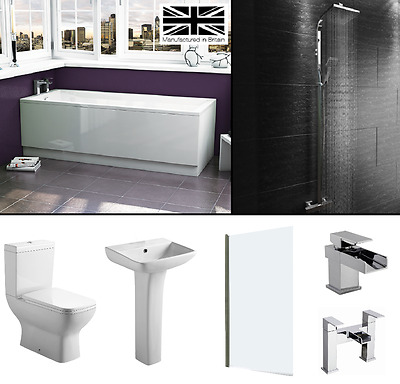 Designer White Bathroom Suite Square Bath Tub Toilet Sink Waterfall Taps Shower