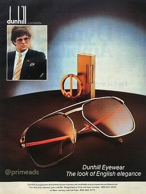 1983 DUNHILL London Sunglasses The Look of English Elegance Vintage PRINT AD