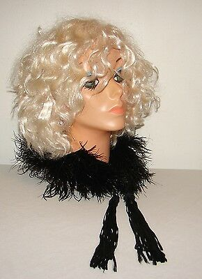 Vintage Black Ostrich Feather Collar Miniature Boa Neck Wrap Scarf with Tassels