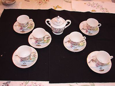 Set of 6 Vintage Hand Painted Japanese Tea Cups and Saucers & Sugar Bowl