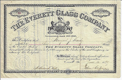 PENNSYLVANIA 1885 The Everett Glass Company Stock Certificate #12 Bedford County