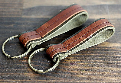 Handmade Usa Green Brown Genuine Leather Men's Keychain Belt Fob Ring Gift Murka
