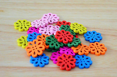 28 x 20mm Colour Wood Flower Buttons Embellishments Craft Scrapbooking Button