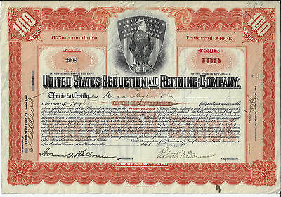 COLORADO 1916 United States Reduction & Refining Co Stock Certificate Cripple Cr