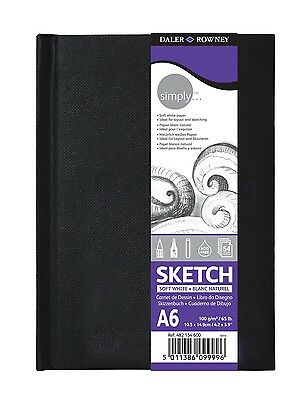 Daler Rowney Simply Artist Hardback Sketchbook A6 100gm Acid Free 54 Sheets