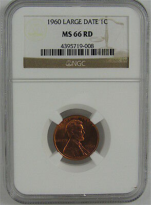 1960 Large Date Lincoln Cent Ngc Ms66Rd