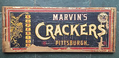 Rare Antique Crate Top Marvin's Crackers Pittsburgh Nabisco Paper Label Dragon