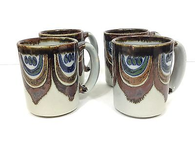 Vintage El Palomar Mexico Pottery Ken Edwards Lotus Coffee Cups Mugs S/4