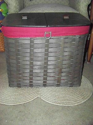Longaberger Sort & Store Recycle Bin Bakset DEEP BROWN w/ Paprika Liner - RARE!