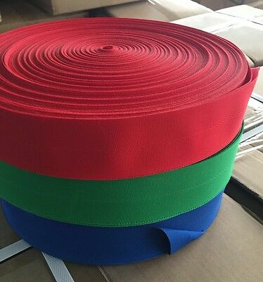 50mm Polyester Centrefold Edge Binding Tape - Flags/Banners/Bunting - Red 100m