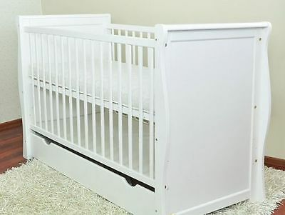 White Baby Cot Bed/cot Beds/baby Cot With Drawer/junior Bed + Foam Free Matress