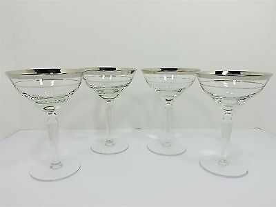 Vintage Set (4) Double Band Silver Rimmed Clear Martini Champagne Glasses