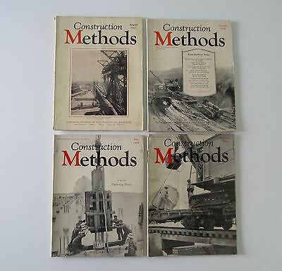 4 Old Construction Methods Magazine 1927 1928 1929 Rare Vintage Ads