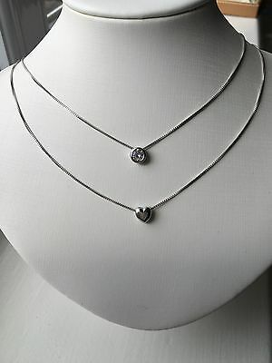 Sterling Silver 925 CZ Stone And Heart Double Chain Layer Pendant Necklace