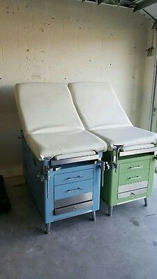 2 Vintage Coronet Doctors Medical Exam Table Light Blue / Seafoam Green Hospital