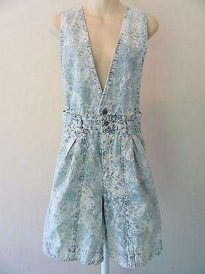 VTG 80s Ladies Overall Shorts 11/12 Acid Wash Denim Girly High Waist Romper