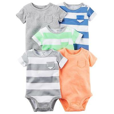 NWT Carter's Infant Boys' 5-Pack Short-Sleeve Bodysuits - Solid & Striped 18 M