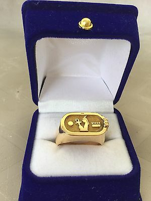 Stamped Unique Rare Egyptian Cartouche 18K Solid Yellow Gold Ring Size 9 Unisex