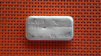 1 x 10oz Bullion club silver bar 999