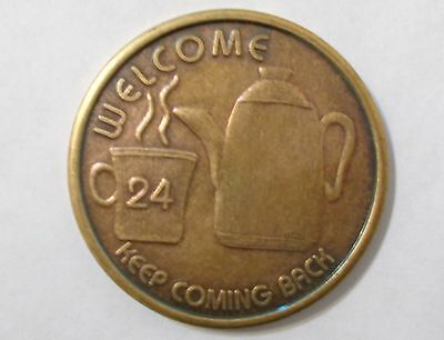 aa bronze 24 hour welcome coffee pot sobriety chip coin token medallion