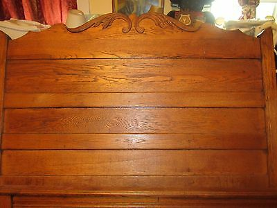 Antique Solid Oak Full Size Bed (Headboard, Footboard, Two Side Rails)