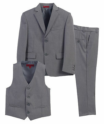 Gioberti Gray 3 Piece Boys Suit Vest Pants Jacket Kids Size 4  NWT