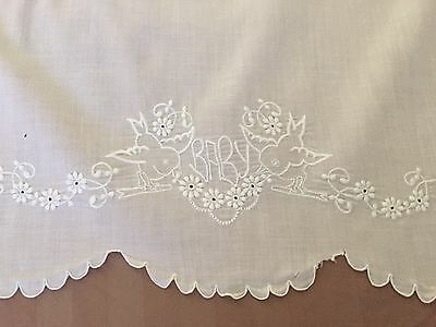 Vintage LINEN Crib BABY Sheet Cover Hand Embroidered Birds Flower Scalloped Trim