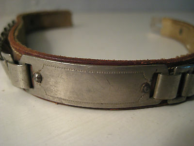 VINTAGE PET COLLAR Unique Metal & Leather from Yesteryear