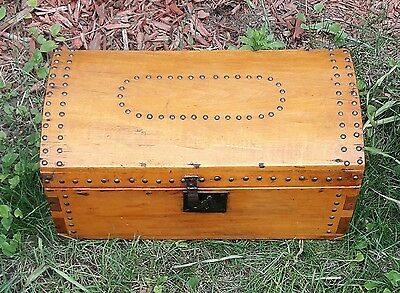 Antique Dovetailed & Tack Decorated Small Wood Domed Chest Trunk & Iron Handles