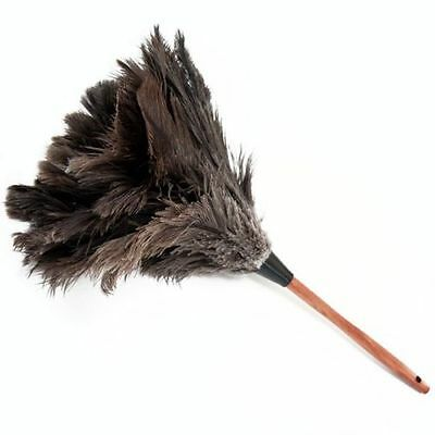 One (1) grey ostrich feather duster 50cm overall wood stained handle 1st grade