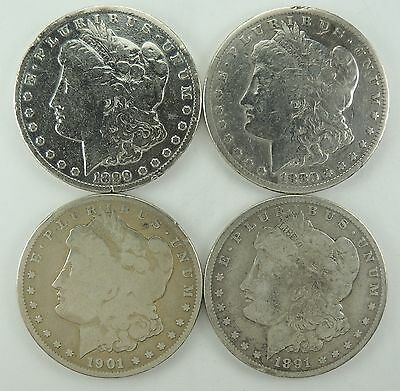Lot of 4 Morgan Silver Dollars $1   1899-O  1880-P  1901-S  1891-O  (170514)