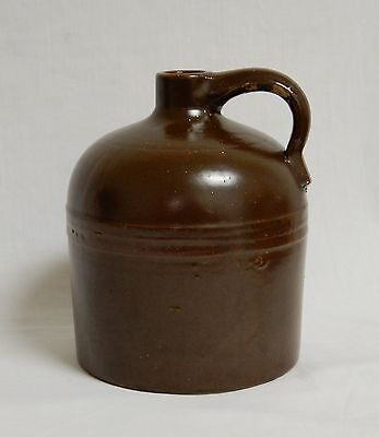 Antique Early American Brownware Stoneware Beehive Brown Moonshine Whiskey Jug