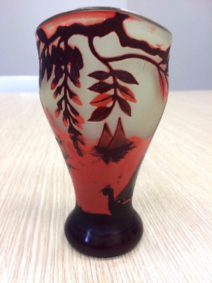 DEVEZ -  Art Glass Antico Vaso Vetro  Cameo - Glass Vase - Art Nouveau/Art Deco