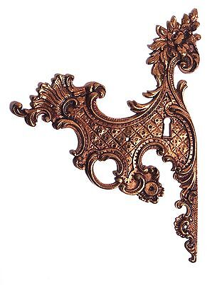 Antique Vintage Victorian Furniture Brass Ornate Large Keyhole Cover Backplate