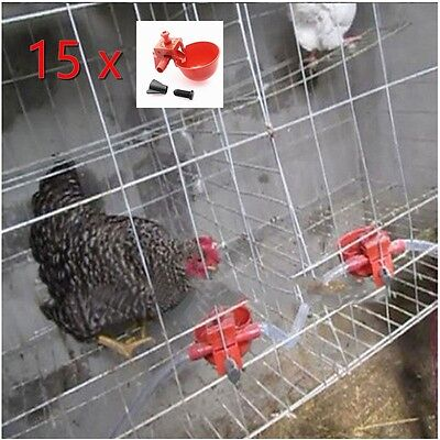 15x Poultry Water Automatic Drinking Cups Chicken Hen Bird Plastic Drinker Quail