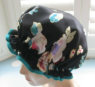 SHOWER CAP HAT   HANDMADE, WATERPROOF Black satin with roses very chic