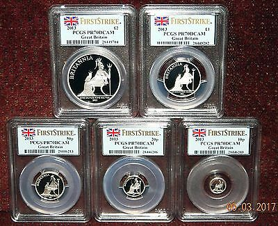 2013 Great Britain Britannia Proof 5 Silver Coin Set Pcgs Pr70 Dcam First Strike