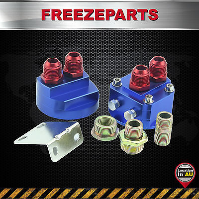 Universal AN8 Cooler Sandwich Plate Adapter + Oil Filter Relocation Kit Blue Red