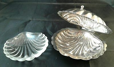 Vintage Leonard Silverplate Clam Shell Butter Dish With Glass Insert