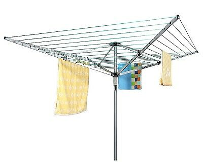 Heavy Duty 4 Arm Outdoor Rotary Clothes Airer / Dryer Washing Line w/ Metal Gro