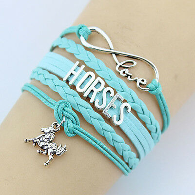 Love Horses Bracelet Wristband Charm Green Turquoise Leather Handmade Jewellery