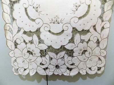 Vintage 1950s Hand Embroidered Cut Work Ecru Linen Table Cloth- 42 X 84cm