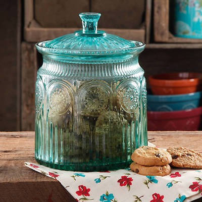 Glass Cookie Jar Canister Biscuit Candy Storage Kitchen Turquoise Holiday