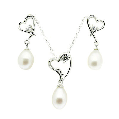 Heart Pendant Necklace and Earring Set Sterling Silver Pearl &  Faux Diamonds