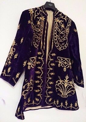 ANTIQUE TURKISH OTTOMAN GOLD-EMBROIDERED PURPLΕ VELVET DRESS 19th c